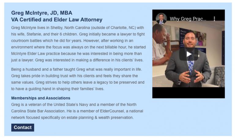Elder Law Marketing Attorney Bio Sample 5