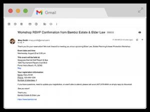 Bambiz Elder Law & Estate planning marketing email confirmation example